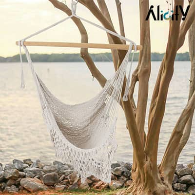 white hammock cotton swing