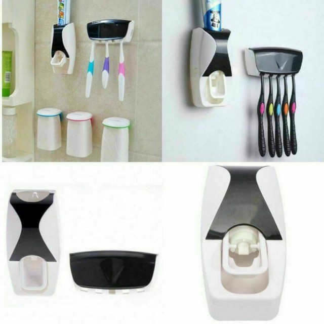 Auto Toothpaste Dispenser Holder Set