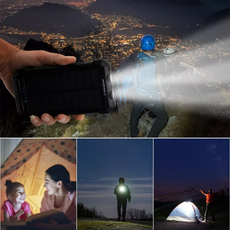500000mAh Solar Waterproof Power Bank 2 USB LED Type-C Battery Charger For Phone