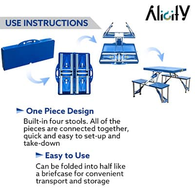 easy set up suitcase camping table