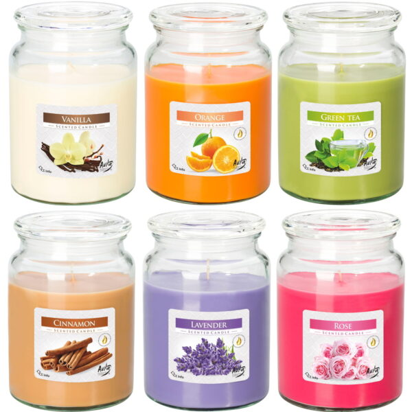 Large Candles in Jars 6 scents to choose from, 100 hrs burning time,