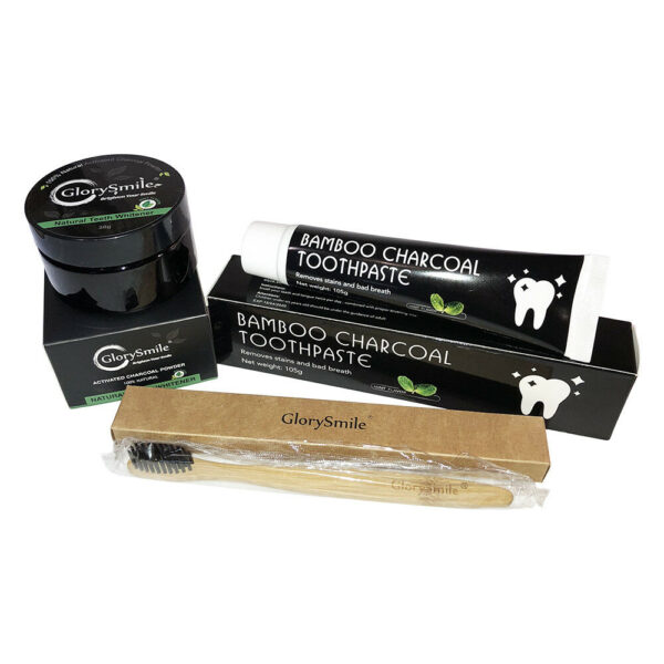 Package Of Charcoal Teeth Powder & Charcoal Toothpaste & Bamboo Toothbrush BEST OFFER