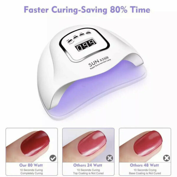 80W LED UV Nail Polish Dryer Lamp Gel Acrylic Curing Light Spa Professional Kit
