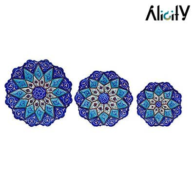 3 piece copper enamel plate set
