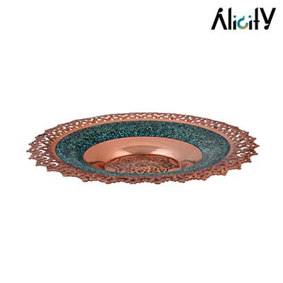 copper and turquoise plate