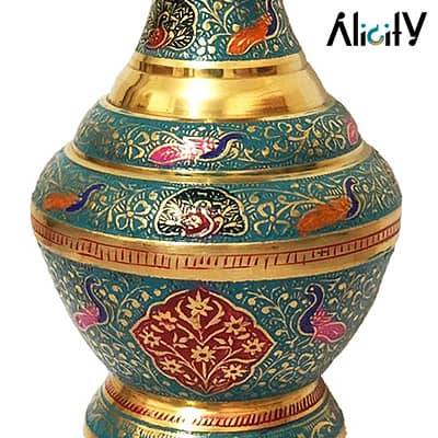enameled indian brass vase