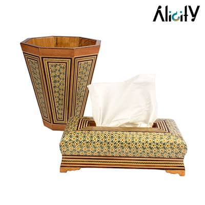 inlaid basket and tissue box