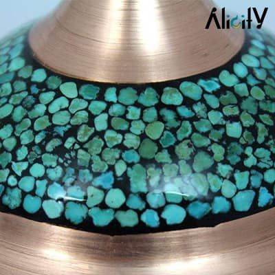 turquoise copper sugar bowl